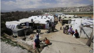Syrian refugee camp in Saadnayel in Lebanon's Bekaa valley.