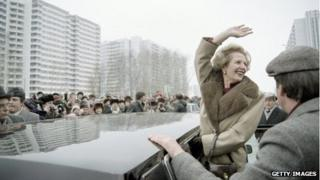 Margaret Thatcher greets Moscovites 29 March 1987