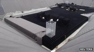 An underground water storage tank unit under construction at Fukushima Daiichi Nuclear Power Plant