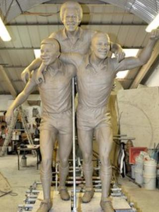 Clay model of statue of Laurie Cunningham, Brendon Batson and Cyrille Regis