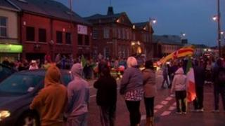 Up to 100 gathered in west Belfast on Tuesday for a second night of celebrations