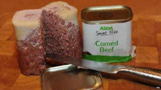 An opened tin of Asda Smart Price brand corned beef