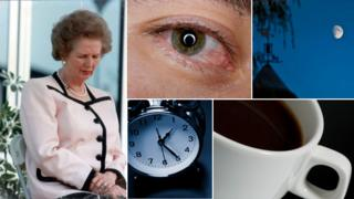Images of sleep and wakefulness, Mrs Thatcher napping, black coffee, the Moon, an alarm clock, a red eye