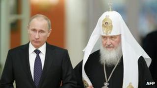 President Putin with Patriarch Kirill, 1 Feb 13