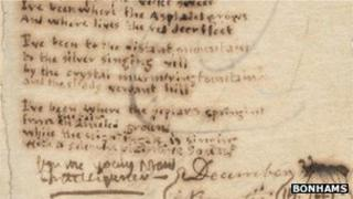 Manuscript of Charlotte Bronte's poem