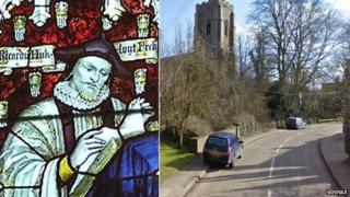 Richard Hakluyt (left) founded the Suffolk village of Wetheringsett-cum-Brockford (right)