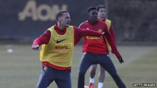 Manchester United player Rio Ferdinand at the club's Aon-branded training ground