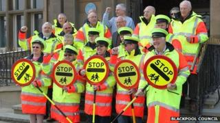 School crossing patrol officers in Blackpool