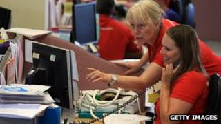 Call centre workers in UK - file pic