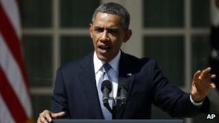 President Barack Obama in the Rose Garden of the White House in Washington on 10 April 2013