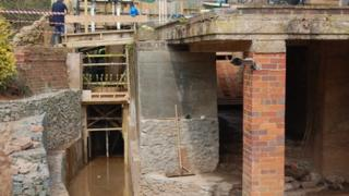 Original sluice and new channel constructed for Neen Sollars community hydroelectric project