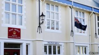 Flag flying at half-mast at Falkland Islands post office