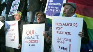 Protesters hold a rally in Paris against critics of a gay marriage bill, claiming they are homophobic