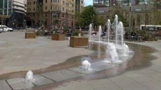 The water feature in City Square when operational