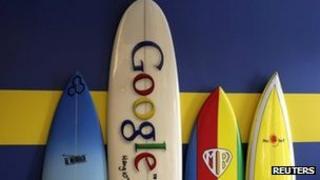 Surfboards in Google office