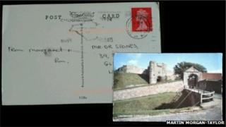 The front and back of the post card