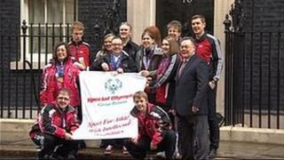 Special Olympians in Downing Street