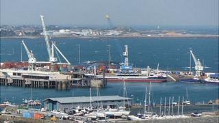 Guernsey's St Peter Port Harbour cranes