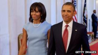 Michelle and Barack Obama at the White House, Washington DC 11 April 2013
