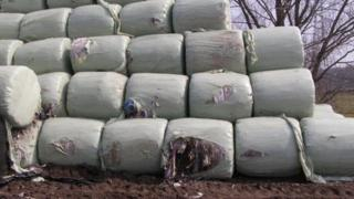 Bales of household waste
