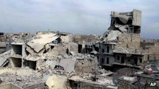 Ruined buildings in Marjeh, northern Syria (11 April 2013)