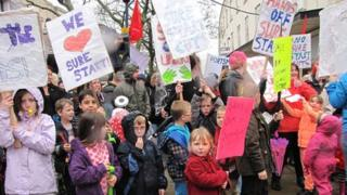 Protest against Sure Start service cuts