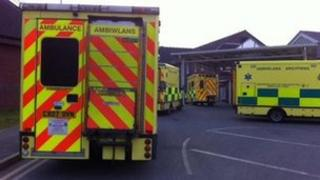 Ambulances queue outside Wrexham Maelor hospital