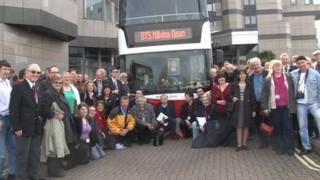 Titanic enthusiasts with Millvina Dean bus