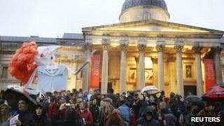 Protest in Trafalgar Square against Margret Thatcher