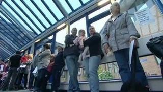 Queue outside MMR clinic in Bridgend
