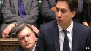 Ed Miliband speaks during Commons debate on Baroness Thatcher