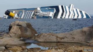 Costa Concordia cruise ship lies aground off Giglio island on 15 January 2012