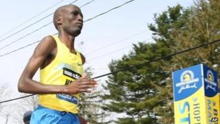Wesley Korir running in the Boston Marathon