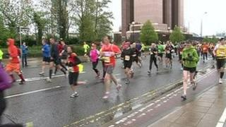 Runners in the Greater Manchester Marathon