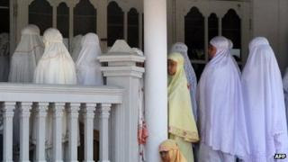 File photo: Members of the Ahmadiyah community attend Friday prayers at the An-Nur Mosque in Manis Lor village, in Kuningan, West Java, on 5 August 2011