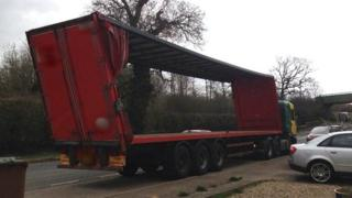 Lorry on A428, Althorp, Northamptonshire