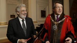 Placido Domingo with the Lord Mayor
