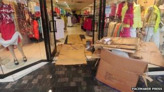 A clothes shop was also badly flooded