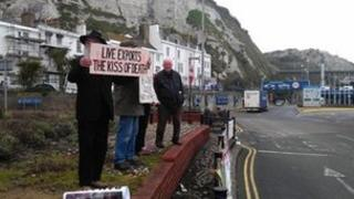 Protesters in Dover at second berthing trial