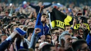 Celebrating Cardiff City fans