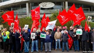 protesters gather outside Ford in Warley, near Brentwood