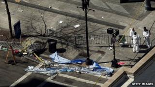 Forensic experts searching Boston marathon bomb scene