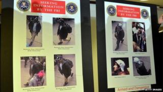 Photographs of two suspects wanted in the Boston Marathon bombings released by the FBI