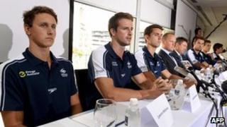 Australian swimmer James Magnussen (2nd L), Eamon Sullivan (3rd L), Cameron McEvoy (L) and members of Australia's much-hyped men's Olympic swim relay team, in Sydney, 22 February 2013