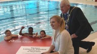 Rebecca Adlington at the pool