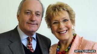 Neil Hamilton and his wife Christine pose for a photograph at the UKIP 2013 Spring Conference being held in the Great Hall, Exeter University on 23 March