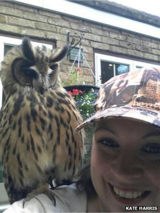 Wicket the owl with owner Kate Harris