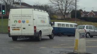 Van leaving Clifton