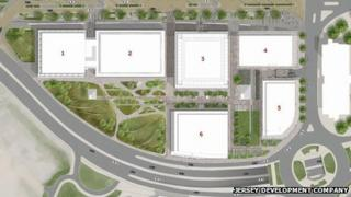 Plans for the layout of the Jersey International Finance Centre