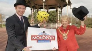 Monopoly manager Dan Taylor and Wolverhampton Mayor Councillor Christine Mills